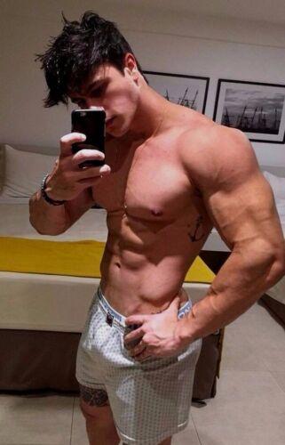 Shirtless Male Muscular Beefcake Hunk Jock Body Builder Ripped PHOTO 4X6 D971