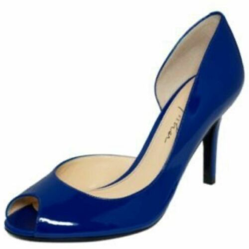 MARC FISHER Heels Blue Patent Leather Joey Peeptoe