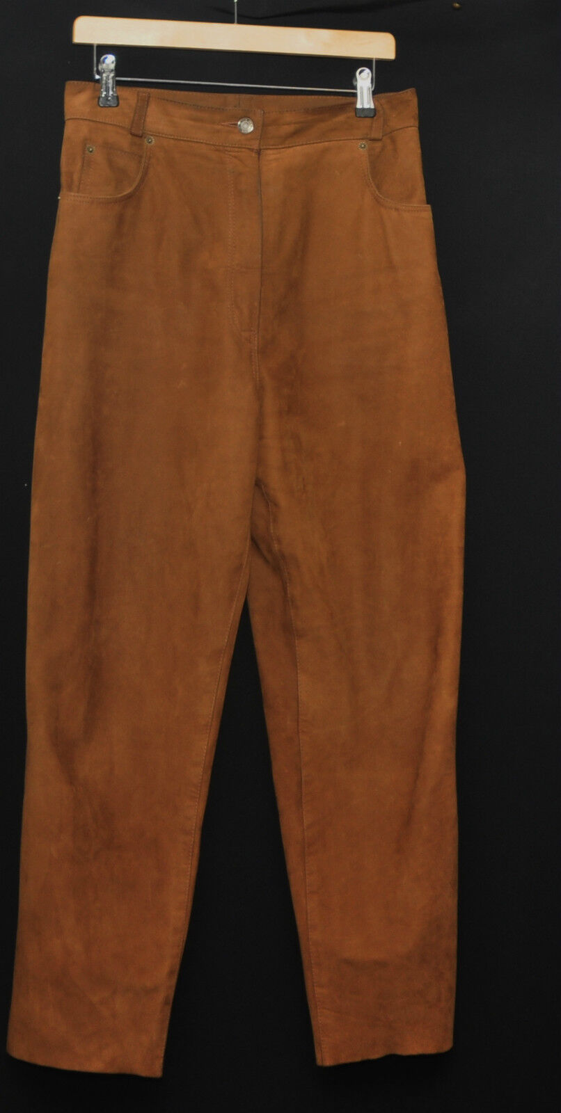 BEAUTIFUL VINTAGE REAL LEATHER SUEDE TAN braun TROUSERS  W 30  1980S