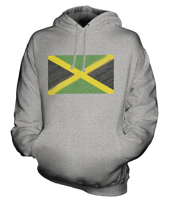 JAMAICA SCRIBBLE FLAG UNISEX HOODIE TOP GIFT JAMAICAN FOOTBALL