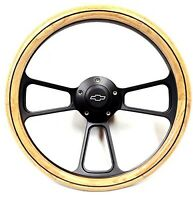 1970 1971 Chevy C10 Pick-up Truck Oak Steering Wheel + Black Billet Adapter