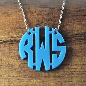 Custom Acrylic Block Monogram Necklace Personalized