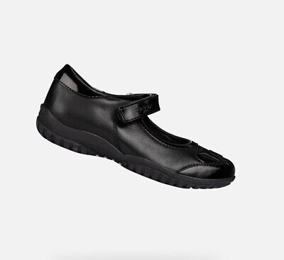 me quejo Oculto Barón  Geox J Shadow B Girls School Shoes In Black Leather with Patent heart  detail   eBay