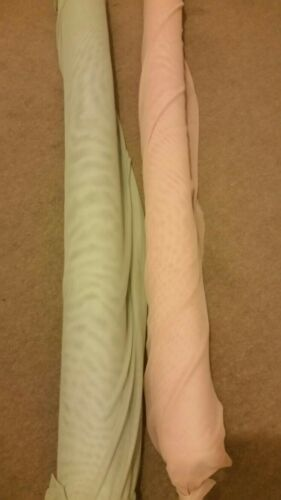 Solid Plain Sheer Mesh Stretch Net Fabric Material Mint Green or Dusky Pink