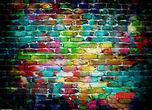 Details About 7x5ft Vinyl Colorful Graffiti Brick Wall Background Photography Backdrop Studio