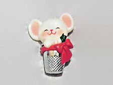 "Avon Christmas Mouse with Thimble 1 1/2"" Lapel Pin"