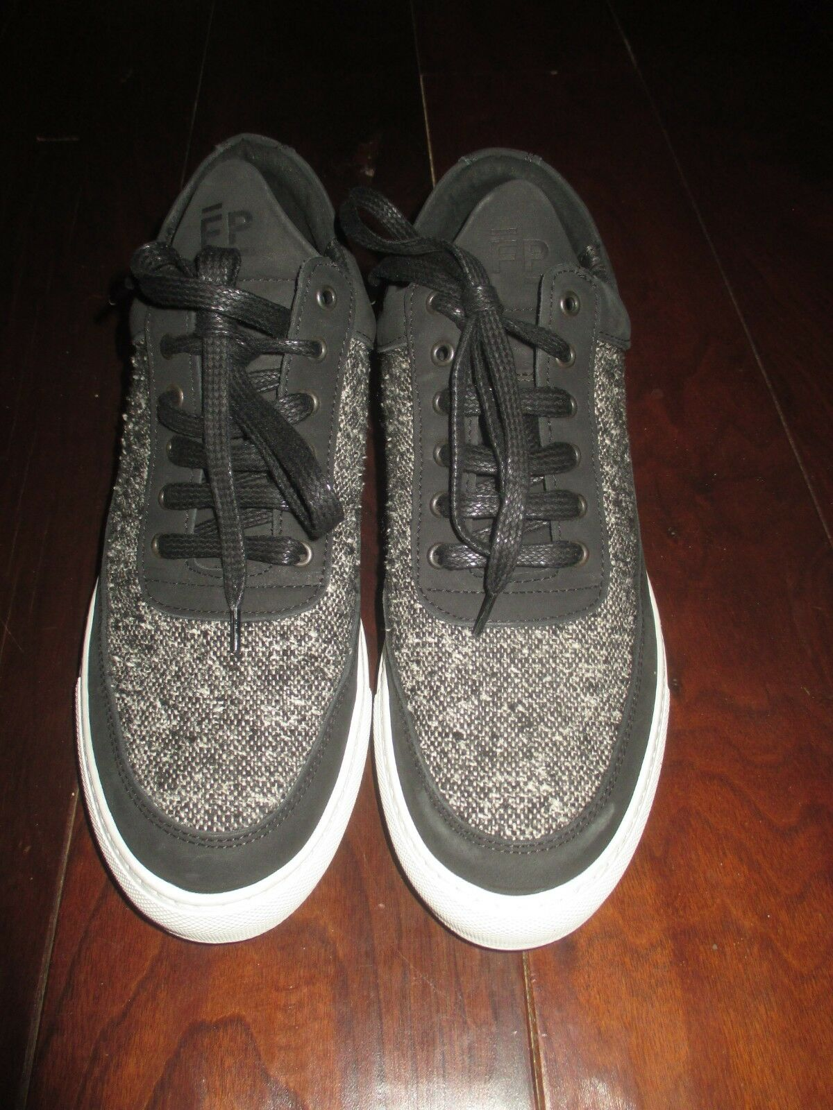 MENS FILLING PIECES BLACK WHITE TWEED LEATHER CANVAS SNEAKERS 8 41 NEW