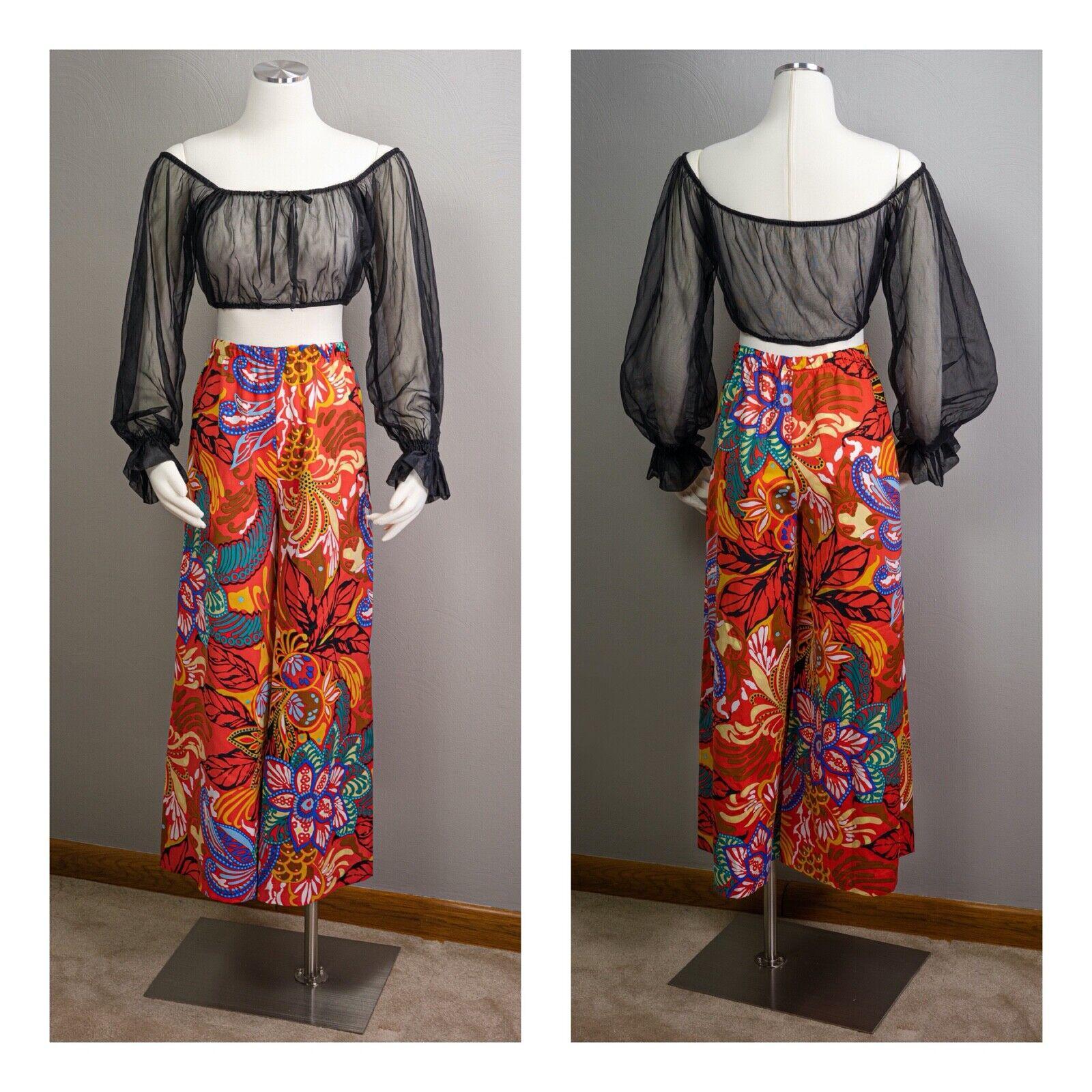 70s Sheer Peasant Crop Top Pants Sets, wide leg p… - image 1
