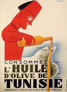 Affiche-originale-Consommez-l-039-huile-d-039-olive-de-Tunisie-Tunis-1925