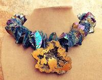 Druzy Quartz Gold Geode Pendant Blue Prism Necklace Big Gem Rough Stone Jewelry