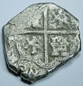 1600-039-s-Spanish-Silver-2-Reales-Old-Antique-Colonial-Two-Bits-Pirate-Cob-Coin