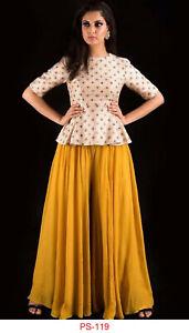Top With Lehenga Type Plazo New Clothing Designer Dress Indian Women Look Ps 119 Ebay