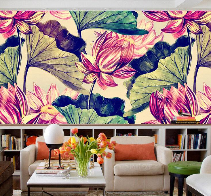 3D Lotus Purple 4 Wallpaper Murals Wall Print Wallpaper Mural AJ WALL AU Lemon