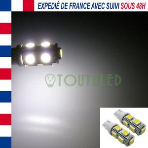 2X AMPOULE LAMPE VEILLEUSE 12V T10 W5W 9 LED 5050 BLANC FROID XENON PLAFONNIER