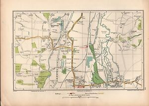 1936 LARGE SCALE VINTAGE LONDON MAP CHESHUNT WALTHAM ABBEY FLAMSTEAD