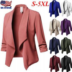 Women-Slim-OL-Suit-Casual-Blazer-Jacket-Coat-Tops-Outwear-Long-Sleeve-Plus-Sized