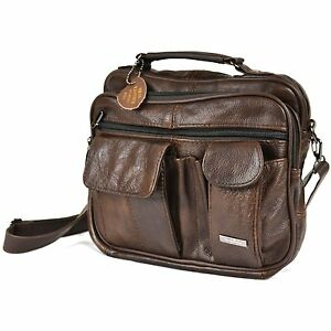 Mens Leather Manbag Business Travel Shoulder Bag Womens