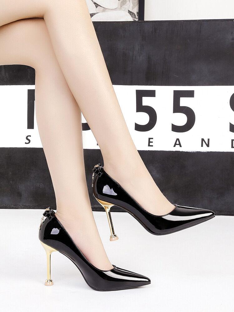 Chaussures decolte eleganti stiletto 10 cm noir lucido comodi pelle sintetica 1568