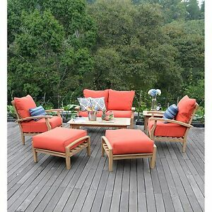 New 7 Piece Teak Wood Outdoor Patio Seating Set Garden Furniture Red