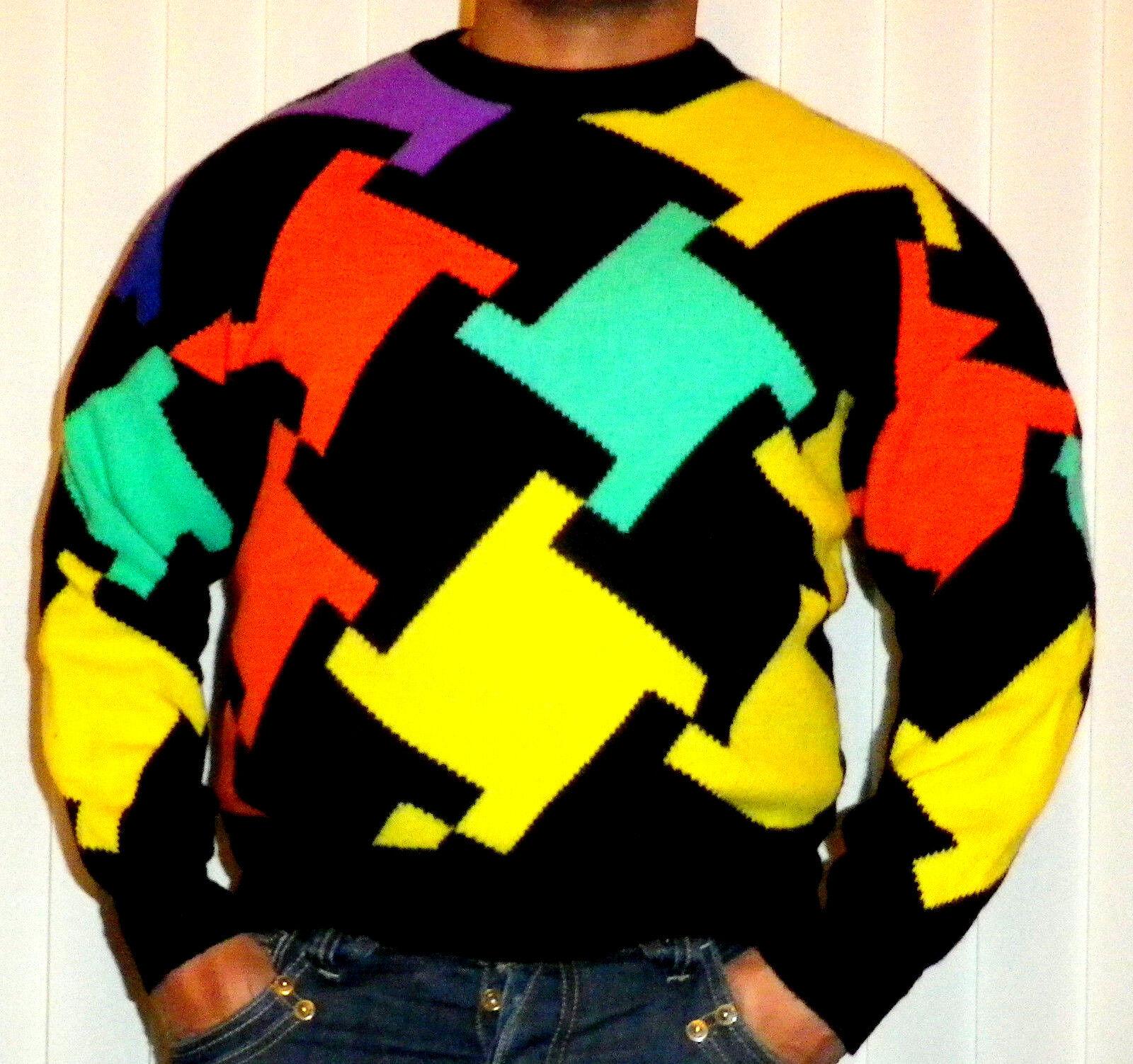 Gianni VERSACE estremamente raro Early 90s coloreATA Pullover Maglione Pullover