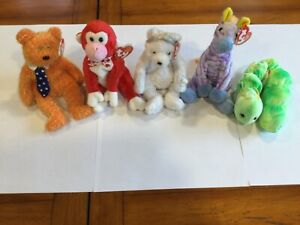 Ty Beanie Babies Assortment! Includes: Bride, Squirmy, Pappa, Valentine, & Vegas