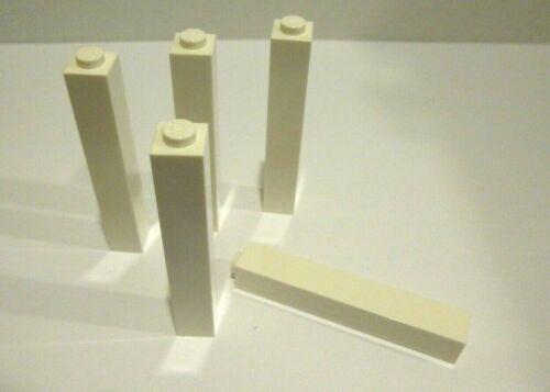 5 x LEGO® 2453 City,Basissteine Säule in 1x1x5  weiss Neuware.