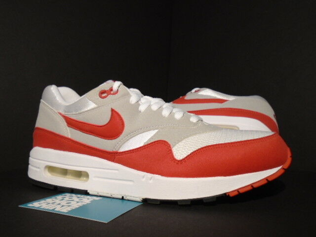 09 NIKE AIR MAX 1 QS WHITE SPORT RED COOL GREY BLACK ATMOS 3.26 378830-161 9.5