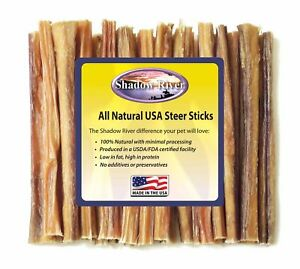 25-Count-6-inch-THIN-Shadow-River-USA-STEER-Bully-Sticks-Dog-Treats-Chew
