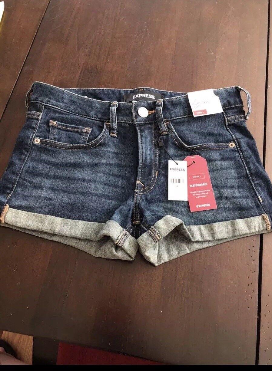 EXPRESS Low Rise Denim Shortie shorts, sz 00, NWT