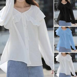 Women-039-s-Ladies-Layered-Ruffle-manches-longues-Parti-T-shirt-lache-Blouse-Top-UK-8-26