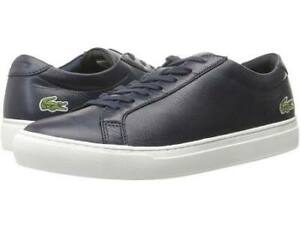 Lacoste-Men-039-s-L-12-12-116-1-Fashion-Sneaker-Navy-Leather-Lace-Up-Sneakers