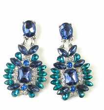 Indigo Turquoise Blue Silver Diamante Earrings Vintage Art Deco Drop Stud 458