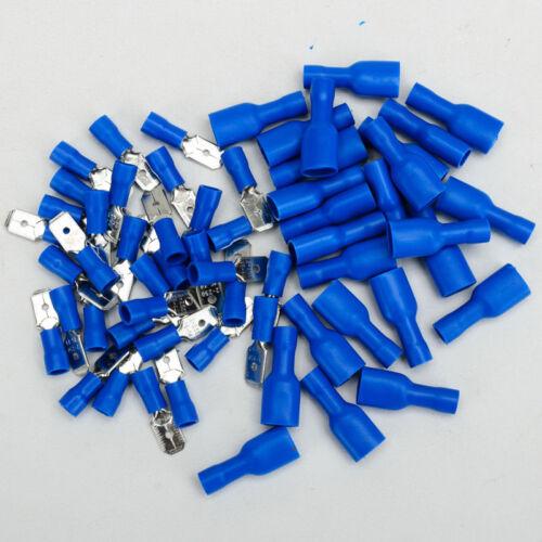 100X Flachsteckhülse Kabelschuhe Isolierte Industrieware Crimp  0.8 x 6,35 mm