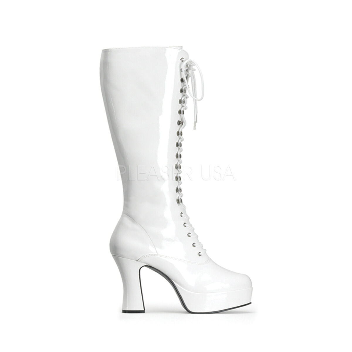 EXO2020 W Sexy Women's Chunky 4  Heel White Platform Lace Up Costume Knee Boots