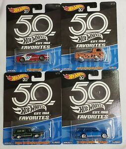 2018 Hot Wheels 50th Anniversary Favorites Series Diecast Cars 1:64 Real Riders