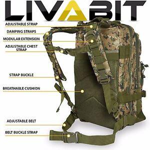 LIVABIT Woodland Digital Camo Tactical EDC 3 Day Assault Bug Out Bag ... 04c79c5733a22
