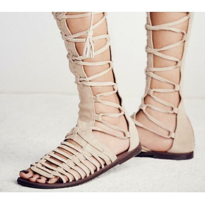 Roman donna Flat Suede Lace Lace Lace Up Strap Casual Knee High Sandal Gladiator scarpe W560 1e7eb5