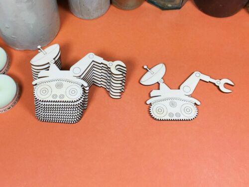 BOIS forme crafts blanks X 10 Bois gravé Moon Buggy formes 10cm