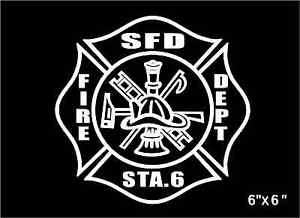 Image is loading Fire-Department-Decal-Maltese-Cross-custom-personalized- Firefighter-