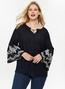 New-Evans-Navy-Blue-Boho-Embroidered-Sleeve-Tunic-Top-Blouse-Size-14-26