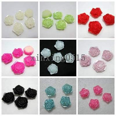 18mm Plastic Pearl flower rose Scrapbook Craft Flatback Beads DIY Wedding button