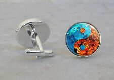 Fire Water Yin Yang Taoism Confucianism 925 Sterling Silver Cuff Links