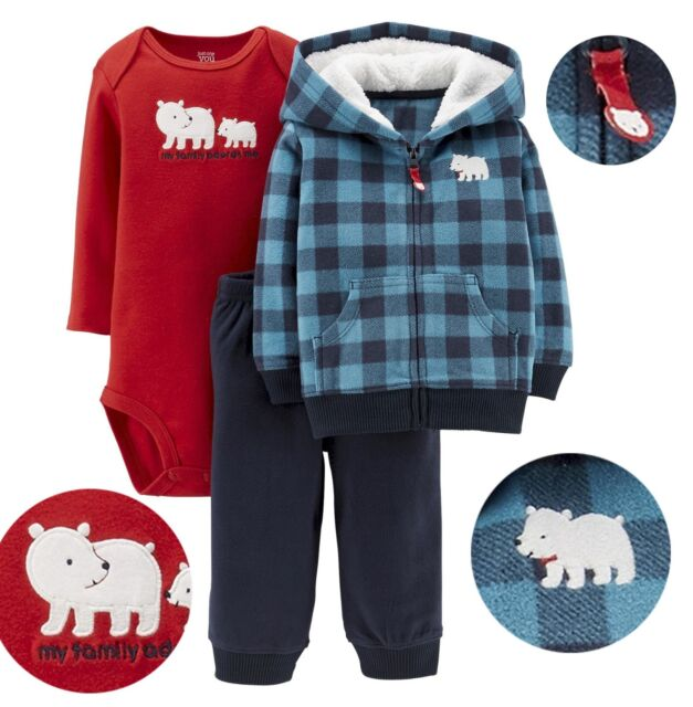 Carter's Just One You Baby Boy Polar Bear Microfleece Jacket pants bodysuit Set