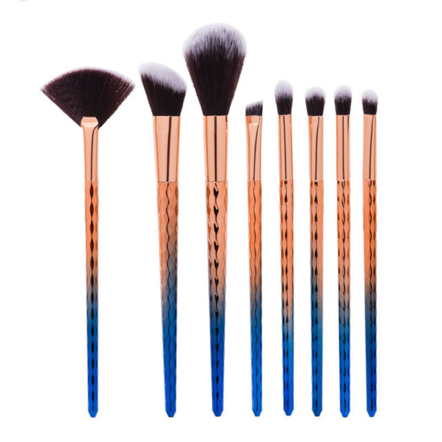 8 pcs Pro Unicorn Face Eyeliner Brush Thread Cosmetic Make Up Flat Brushes Sets