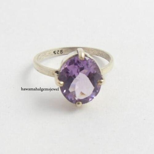 925 Silver  Natural Amethyst Oval Ring Women New Rings Faceted Gemstone Jewelry