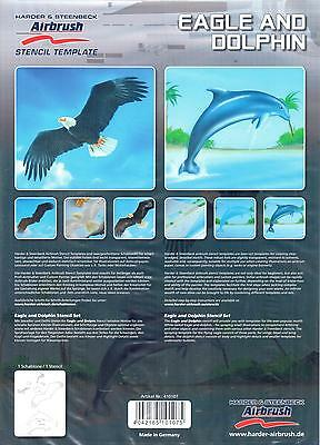 HARDER & STEENBECK AIRBRUSH STENCILS - EAGLE AND DOLPHIN
