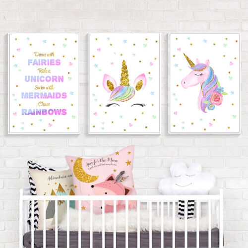 Unicorn Wall Art Canvas Poster Nursery Quote Prints Baby Kids Living Room Decor