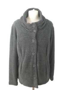 Per-Una-M-amp-S-Large-14-16-Grey-Black-Soft-Stripe-Jacket-Cardigan-Autumn-Casual
