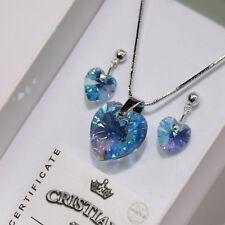 a896e01c8 Blue Heart Swarovski Elements Necklace Crystal Pendant Set Earrings Ladies
