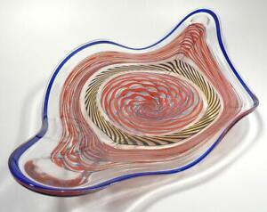 "27"" HAND BLOWN GLASS ART WALL/TABLE PLATTER, DIRWOOD, INCALMO CANE PROCESS n3236"